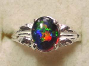 Black Crystal Genuine Gold Hills Opal Ring